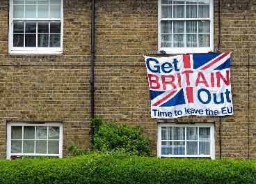 Pancarta a favor del Brexit