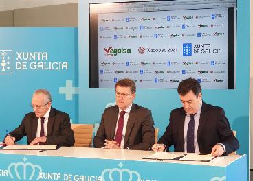 Firma del acuerdo entre Vegalsa-Eroski y la Xunta