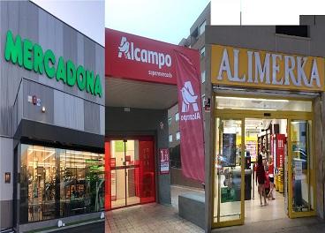 Tiendas de Mercadona, Alcampo y Alimerka