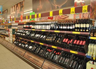 Sección de vinos de supermercado de Lidl