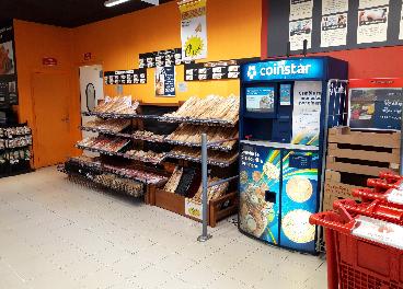 Quiosco de Coinstar en un supermercado