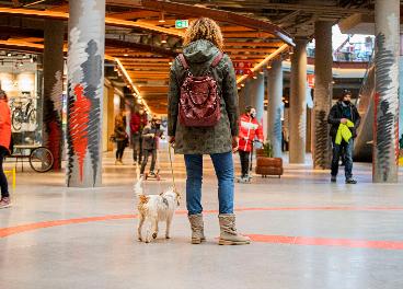 Clienta con mascota en centro comercial de Merlin