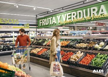 Sección de fruta y verdura de Aldi