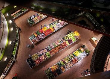 Imagen cenital de un supermercado