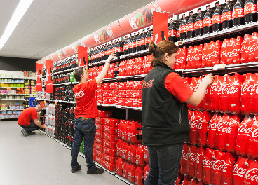 Trabajadores y productos de Coca-Cola
